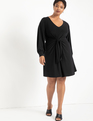Tie Front Dress Totally Black