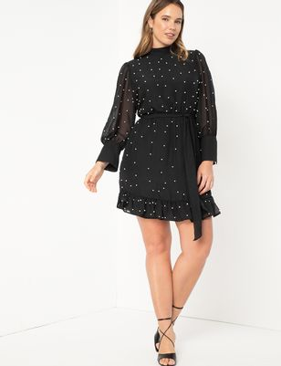 Pearl Embellished Chiffon Dress