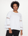 Hi Lo Popover with Bell Sleeves White