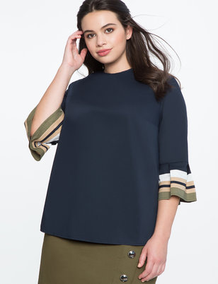 Ruffle Colorblocked Sleeve Top