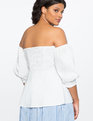 Off the Shoulder Puff Sleeve Top White
