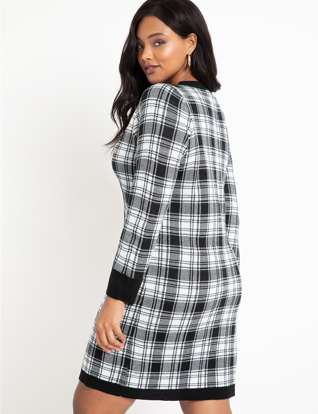 Checkered Sweater Dress