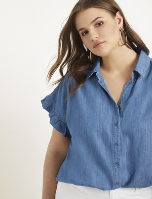 Chambray Ruffle Sleeve Top