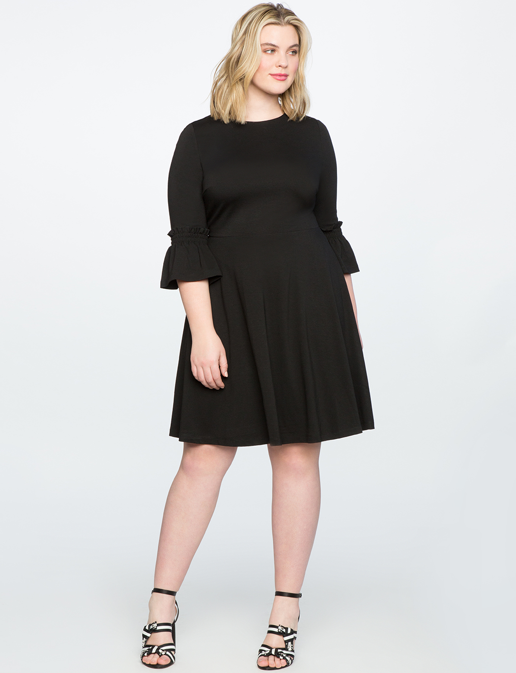 Smocked Sleeve Fit and Flare Dress