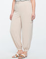 Pleated Gathered Ankle Pant Nude