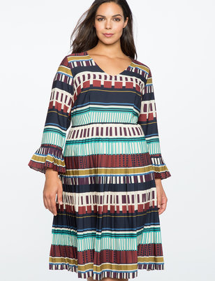 Printed Midi Dress with Pleated Detail