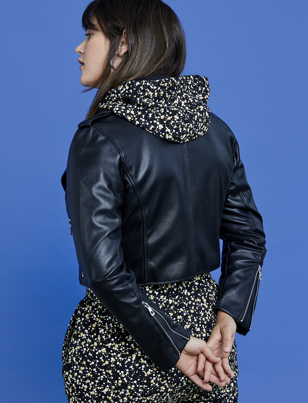 R29 x ELOQUII Faux Leather Cropped Moto Jacket