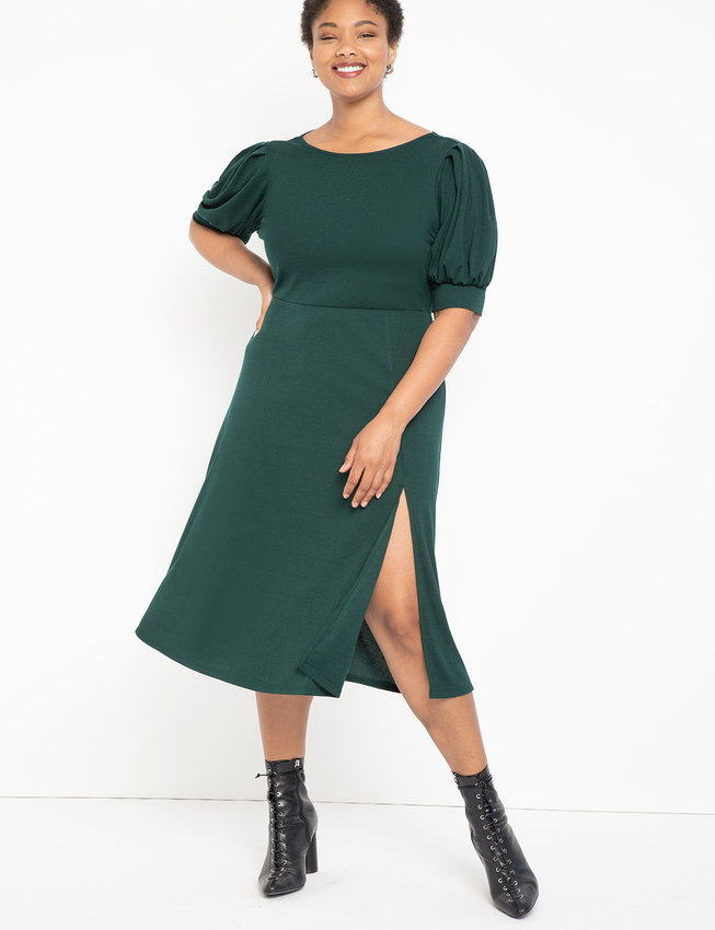 Puff Sleeve Cowl Back Dress