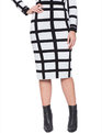Contrast Windowpane Skirt White / Black