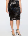 Two Tone Sequin Pencil Skirt Totally Black/Matte Totally Black
