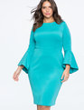Flare Sleeve Scuba Dress ARUBA BLUE