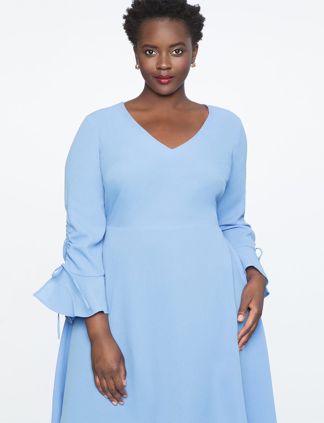 Gathered Sleeve Flounce Dress