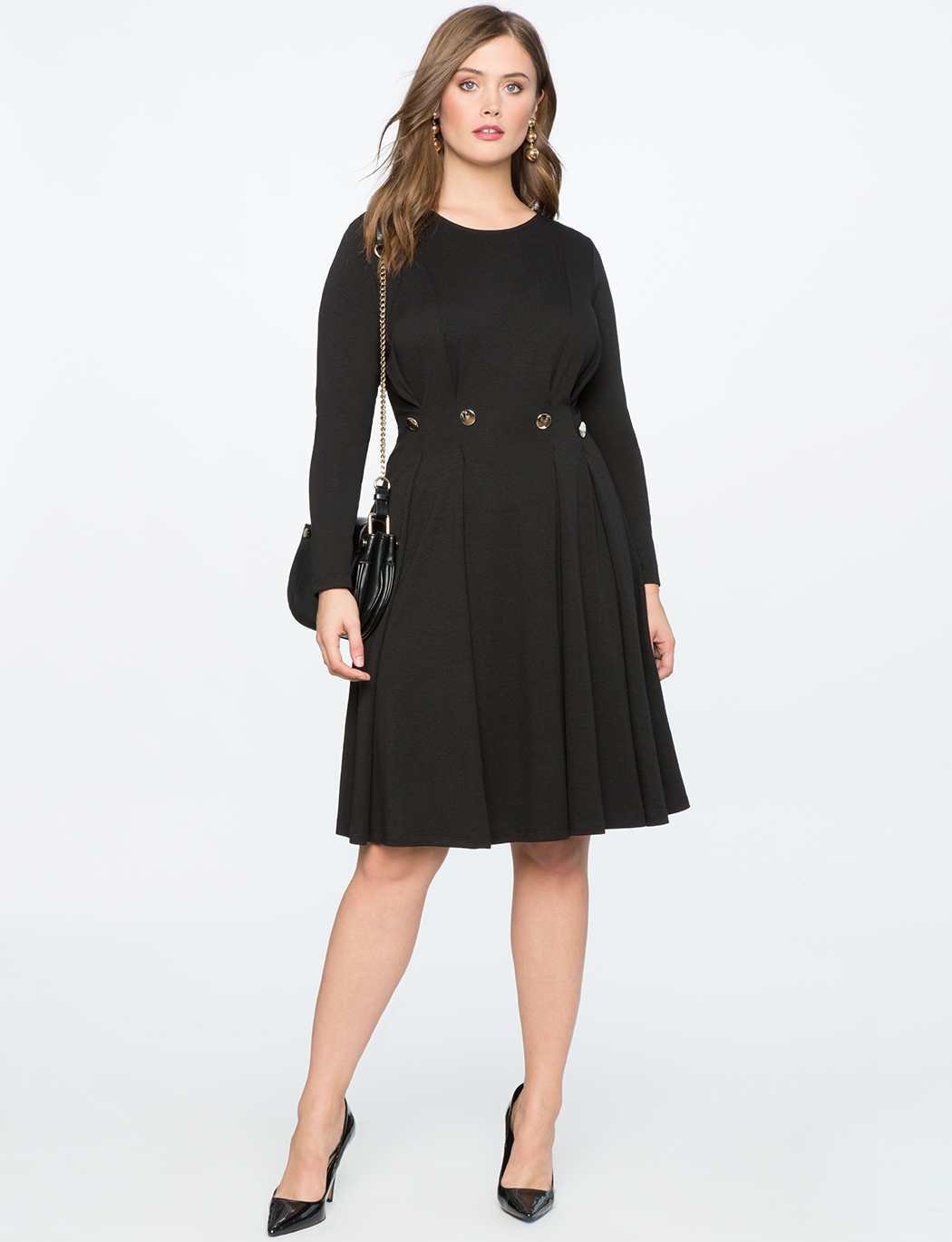 Pleated Fit and Flare Dress with Button Detail