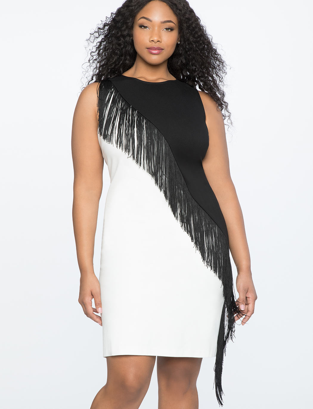 Colorblocked Dress with Fringe | Women\'s Plus Size Dresses | ELOQUII