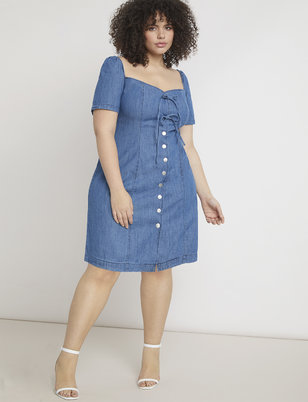 Tie Front Chambray Dress