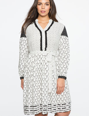 Peasant Sleeve Patterned Dress