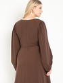 Ruched Front Dress With Puff Sleeve Melted Chocolate
