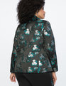 Brocade One Button Jacket Teal + Silver Floral