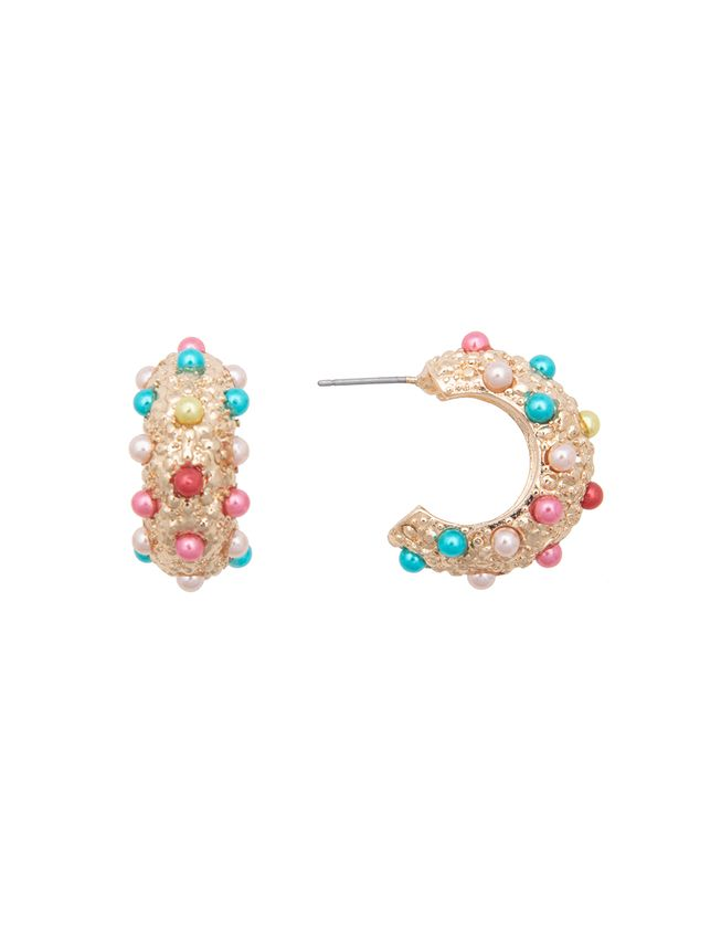 Multicolor Dotted Hoop Earring