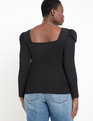 Square Neck Puff Sleeve Top Black