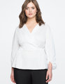 Wrap Front Puff Sleeve Top True White