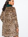 Leopard Coat with Fur Collar Leopard / Forest Green