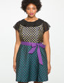 Studio Mixed Jacquard Fit & Flare Dress GOLD + GREEN + BLACK + PURPLE