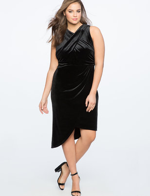 Velvet Asymmetrical Mock Neck Dress