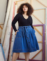 Denim Midi Skirt with Tie Medium Wash