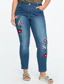 Luxe Embroidered Jean Medium Wash