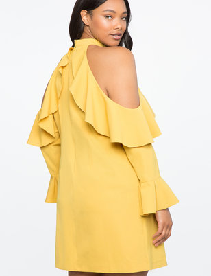 Cold Shoulder Halter Dress with Ruffle Details