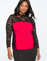 Long Sleeve Lace Detail Blouse DARK AZALEA With BLACK LACE