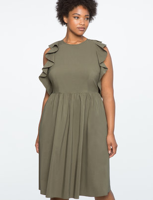 Flutter Sleeve Fit and Flare Dress