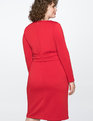 Long Sleeve Scuba Dress with Tie Jester Red