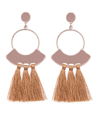 Hammered Detail Tassel Earring