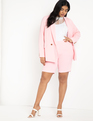 Two Button Textured Blazer Pink Velvet