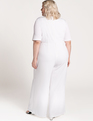 Pleated Jumpsuit with Keyhole White