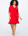 Ruffle Front Dress Goji Berry