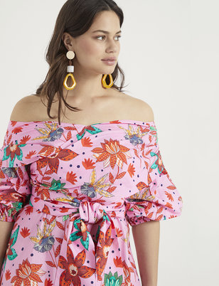 Off the Shoulder Puff Sleeve Fit and Flare Dress