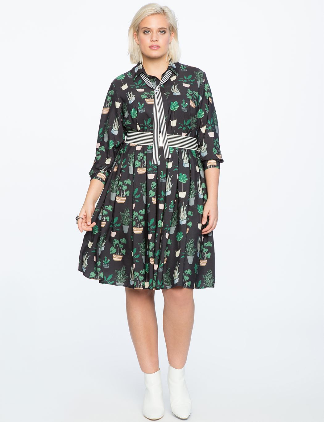 adec38fb98d Long Sleeve Printed Fit and Flare Dress