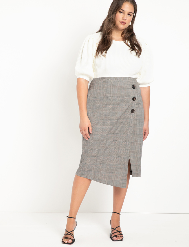 Wrap Plaid Skirt with Buttons