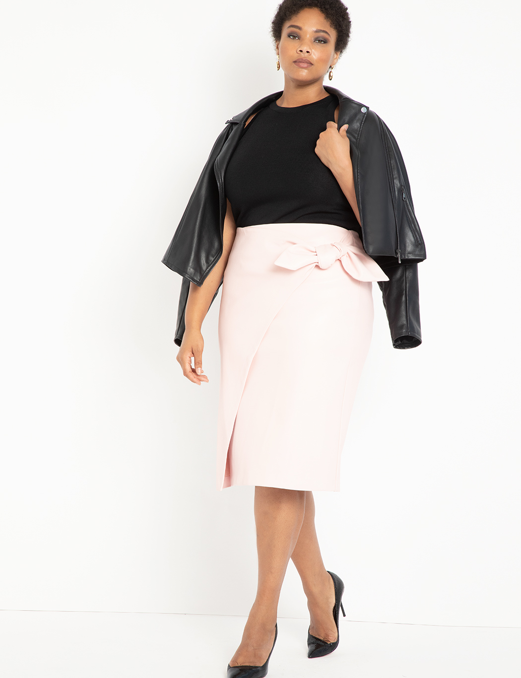 Wrap Front Faux Leather Pencil Skirt