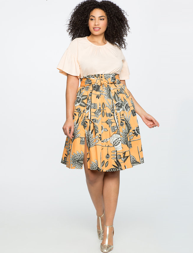 Midi Skirt with Paper Bag Waist and Slit Detail