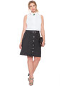 Button Up A-line Skirt Black