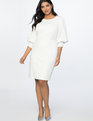 Drama Sleeve Dress Soft White