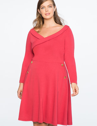 Button Detail Fit And Flare Dress
