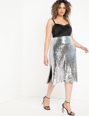 Sequin Skirt with Side Slits