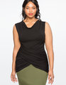 Draped Wrap Front Top Totally Black