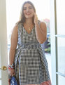 Draper James for ELOQUII Gingham Blocked Fit & Flare Dress Dolly Check