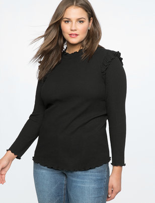 Ruffle Shoulder Mock Neck Tee